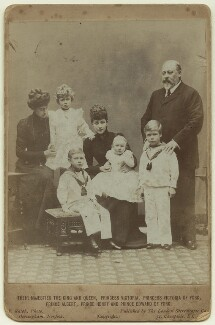 King Edward VII and Queen Alexandra with the children of King George V, by Frederick William Ralph, published by  London Stereoscopic & Photographic Company - NPG x29773