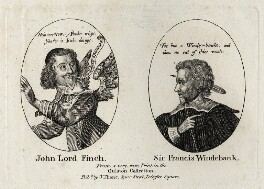 John Finch, Lord Finch of Fordwich and Sir Francis Windebank, possibly after George Glover, published by  John Thane - NPG D26905