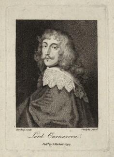 Robert Dormer, 1st Earl of Carnarvon, by Silvester (Sylvester) Harding, published by  Isaac Herbert, after  Sir Anthony van Dyck - NPG D27000