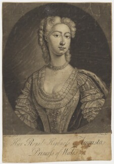 Augusta of Saxe-Gotha, Princess of Wales, by John Faber Jr, after  Charles Philips, mid 18th century - NPG D9121 - © National Portrait Gallery, London