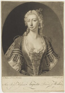 Augusta of Saxe-Gotha, Princess of Wales, by John Faber Jr, after  Thomas Hudson, 1751 (1750) - NPG D9122 - © National Portrait Gallery, London