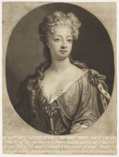 Sophia Dorothea, Queen of Prussia, by and published by John Smith, after  Johann Leonhard Hirschmann, 1706 - NPG D9123 - © National Portrait Gallery, London