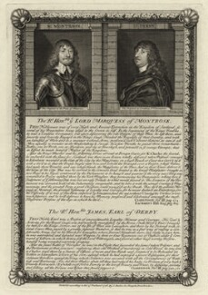 James Graham, 1st Marquess of Montrose and James Stanley, 7th Earl of Derby, by George Vertue, published by  Stephen Austen, after  William Dobson, and after  Sir Anthony van Dyck - NPG D27065
