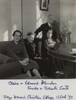 Claire Margaret Blunden (née Poynting); Edmund Blunden; Fumiko Saito; Takeshi Saito, by Unknown photographer - NPG x46603
