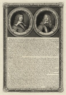 Sir George Lisle and Sir Charles Lucas, by George Vertue, after  William Dobson, after  Unknown artist - NPG D27197