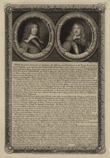 Sir George Lisle and Sir Charles Lucas, by George Vertue, after  William Dobson, after  Unknown artist - NPG D27205