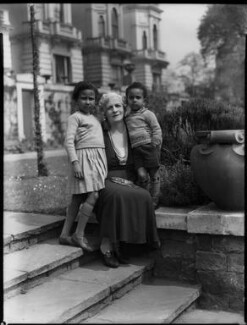 Hannah, Princess Asfa Yilma (Mrs Algernon Holland) with Leah and David, by Bassano Ltd, 6 June 1936 - NPG x152197 - © National Portrait Gallery, London