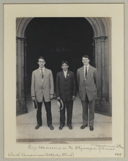 Prize Winners in the Olympic Games (Irish American Athletic Club)' (Jim Sullivan; Louis Tewanima; Robert Cloughen), by Benjamin Stone - NPG x131229