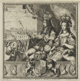 King William III; Queen Mary II, by Romeyn de Hooghe, published by  Carel Allard - NPG D32270