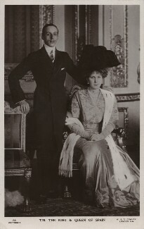 Alfonso XIII, King of Spain; Victoria Eugenie ('Ena') of Battenberg, Queen of Spain, by W. & D. Downey - NPG x74381