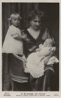 Ena, Queen of Spain with Infanta María Cristina and Infante Juan, by Christian Franzen, published by  J. Beagles & Co - NPG x74465