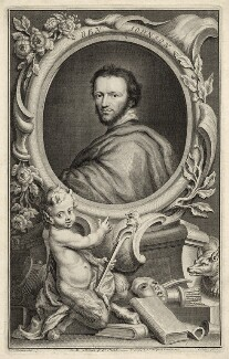 Called Benjamin ('Ben') Jonson, by Jacobus Houbraken, published by  John & Paul Knapton, after  Isaac Oliver - NPG D27955