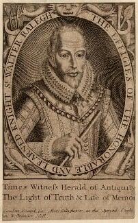 Sir Walter Ralegh (Raleigh), printed for Matt. Gillyflower, after  Simon de Passe - NPG D27999