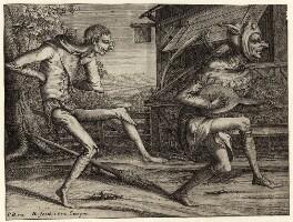 Two unknown dancing figures, by Hendrik Hondius (Hond), after  Pieter Bruegel the Elder - NPG D28069