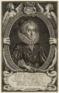 Lucy Russell (née Harington), Countess of Bedford, by Simon de Passe, early 17th century - NPG D28090 - © National Portrait Gallery, London