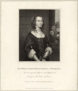 possibly Isabella Compton (née Sackville), Countess of Northampton, formerly known as Anne, Countess of Pembroke (Lady Anne Clifford), by Edward Scriven, published by  Lackington, Allen & Co, published by  Longman, Hurst, Rees, Orme & Brown, after  William Haines, after follower of  Sir Anthony van Dyck - NPG D28107
