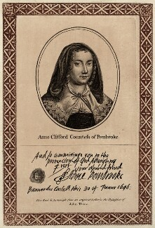 Anne, Countess of Pembroke (Lady Anne Clifford), published by John Thane - NPG D28110