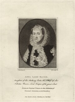 Anne Bacon (née Cooke), Lady Bacon, by Henry Richard Cook, published by  Silvester (Sylvester) Harding - NPG D28114