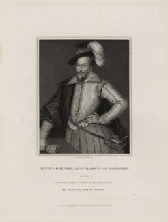 Henry Somerset, 1st Marquess of Worcester, by John Henry Robinson, published by  Harding & Lepard, after  Cornelius Johnson (Cornelius Janssen van Ceulen) - NPG D28193