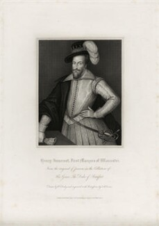 Henry Somerset, 1st Marquess of Worcester, by Thomas Anthony Dean, published by  Harding & Lepard, after  William Derby, after  Cornelius Johnson (Cornelius Janssen van Ceulen) - NPG D28195