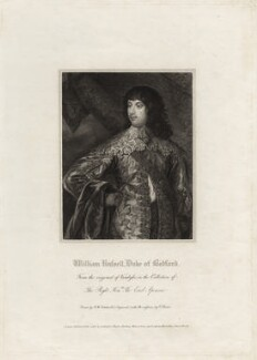 William Russell, 1st Duke of Bedford, by Charles Picart, after  Robert William Satchwell, after  Sir Anthony van Dyck - NPG D28202