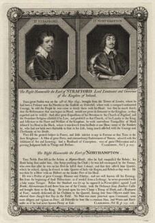 Thomas Wentworth, 1st Earl of Strafford and Spencer Compton, 2nd Earl of Northampton, by George Vertue, after  Sir Anthony van Dyck, and after  Cornelius Johnson (Cornelius Janssen van Ceulen) - NPG D28207