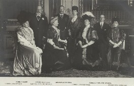 Royal group in the Crimson Drawing-Room at Windsor Castle, by William Edward Downey, for  W. & D. Downey, published by  Verlag von Gustav Liersch & Co, 17 November 1907 - NPG x131270 - © National Portrait Gallery, London