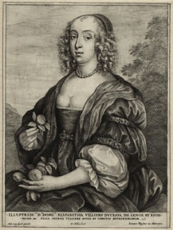 Mary Villiers, Duchess of Richmond and Lennox, by Wenceslaus Hollar, published by  Johannes Meyssens, after  Sir Anthony van Dyck, mid 17th century - NPG D28391 - © National Portrait Gallery, London