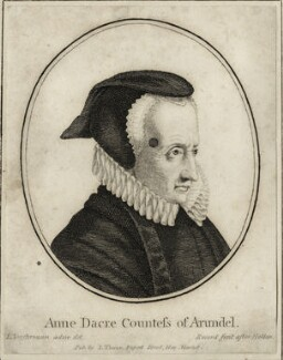 Anne Howard (née Dacre), Countess of Arundel, by John Record, after  Wenceslaus Hollar, after  Lucas Vorsterman, published by  John Thane - NPG D28393