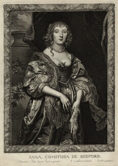 Anne Russell (née Carr), Countess of Bedford, by Pierre Lombart, after  Sir Anthony van Dyck - NPG D28404