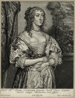 Katherine Livingston (née Howard), Viscountess Newburgh, by Arnold de Jode, after  Sir Anthony van Dyck - NPG D28430