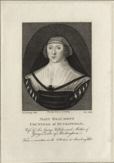 Mary Villiers (née Beaumont), Countess of Buckingham, by James Stow, published by  George Perfect Harding - NPG D28432