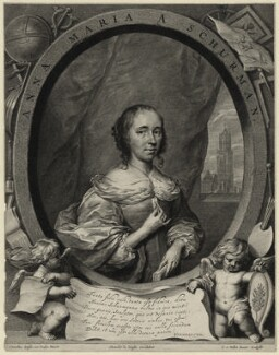 Anna Maria van Schurman, by Cornelis van Dalen the Younger, published by  Clemendt de Jonghe, after  Cornelius Johnson (Cornelius Janssen van Ceulen) - NPG D28455