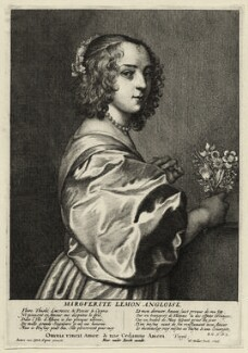 Margaret Lemon, by Wenceslaus Hollar, after  Sir Anthony van Dyck, published by  Hendrick van der Borcht the Elder - NPG D28463