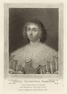 Lettice Cary (née Morison), Viscountess Falkland, by Charles Turner, published by  Samuel Woodburn, after  Cornelius Johnson (Cornelius Janssen van Ceulen) - NPG D28479