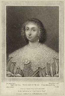 Lettice Cary (née Morison), Viscountess Falkland, by Charles Turner, published by  Samuel Woodburn, after  Cornelius Johnson (Cornelius Janssen van Ceulen) - NPG D28480