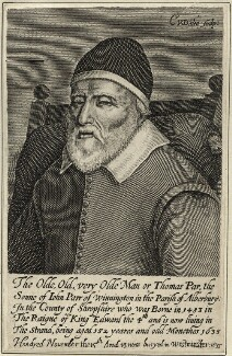 Thomas Parr, by Cornelis van Dalen, after  Unknown artist - NPG D28493