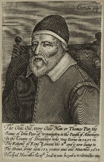 Thomas Parr, by Cornelis van Dalen, after  Unknown artist - NPG D28495