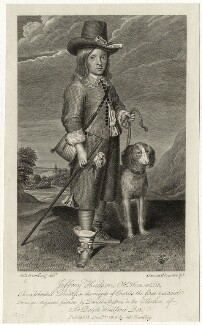 Unknown man engraved as Jeffrey Hudson, by James Stow, after  Daniel Mytens, published by  George Perfect Harding - NPG D28510