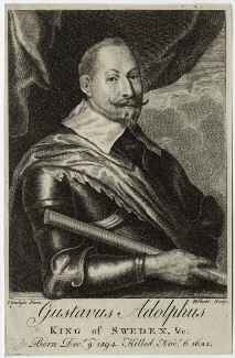 Gustavus Adolphus, King of Sweden, by William Hibbart, after  Sir Anthony van Dyck - NPG D28571