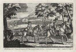 King Charles the 2d. in Disguise rideing before Mrs Lane by which he made his Escape; the Lord Wilmot at a distance., by Michael Vandergucht, after  P. La Vergne - NPG D28648
