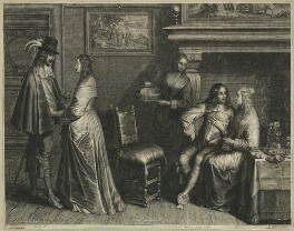 'Two young men with their ladies in a room', by Schelte Bolswert, published by  Gillis Hendricx, after  Christoffel Jacobsz. van der Lamen - NPG D28653