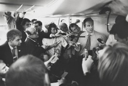 'Press Quarters of PM's Boeing 777 en route to Washington' (sitters including Tony Blair, Alastair Campbell), by Nick Danziger, 26 March 2003 - NPG x131295 - © Nick Danziger