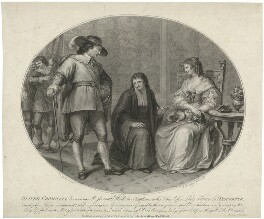 Oliver Cromwell discovering Jeremiah White his chaplain, on his knees before Lady Frances his daughter, by Francesco Bartolozzi, published by  Anthony Molteno, after  Giovanni Battista Cipriani - NPG D28702