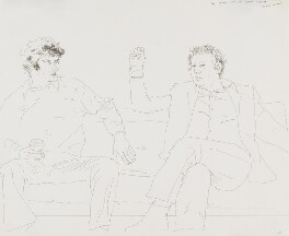 Sir Peter Maxwell Davies; Sir Harrison Birtwistle, by David Hockney - NPG 6515