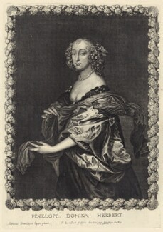 Penelope (née Naunton), Lady Herbert, by Pierre Lombart, after  Sir Anthony van Dyck - NPG D29175
