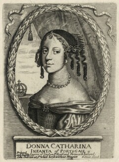 Catherine of Braganza, published by Peter Stent, published by  John Overton, after  Unknown artist - NPG D29301