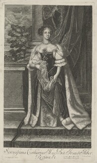Catherine of Braganza, by Edward Davis (Le Davis), after  John Baptist Gaspers (Jaspers), published by  Moses Pitt - NPG D29304