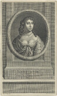 Anne Hyde, Duchess of York, by Charles Louis Simonneau (Simoneau), after  Sir Peter Lely - NPG D29312