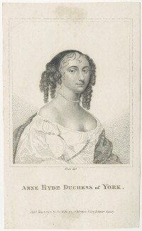 Anne Hyde, Duchess of York, by Rivers, published by  John Scott, after  Sir Peter Lely, published 1 June 1803 - NPG D29315 - © National Portrait Gallery, London
